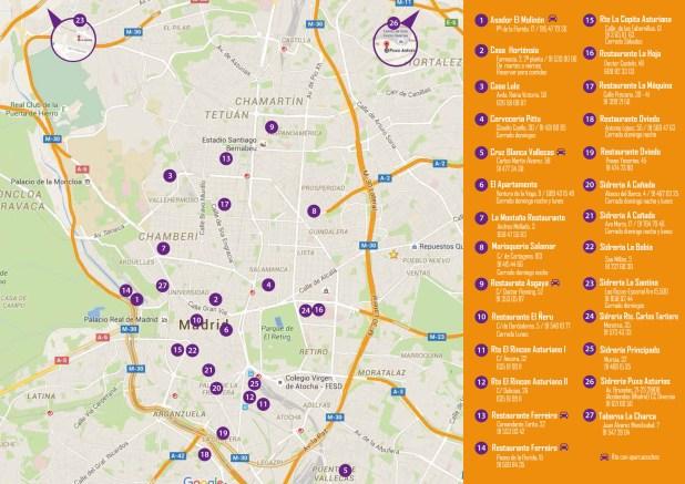 Plano con los restaurantes de la II ruta de la Fabada Madrid