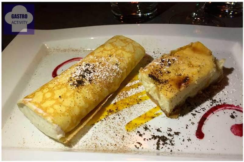 Filloa con mousse de queso y Tarta de queso Restaurante Los Montes de Galicia