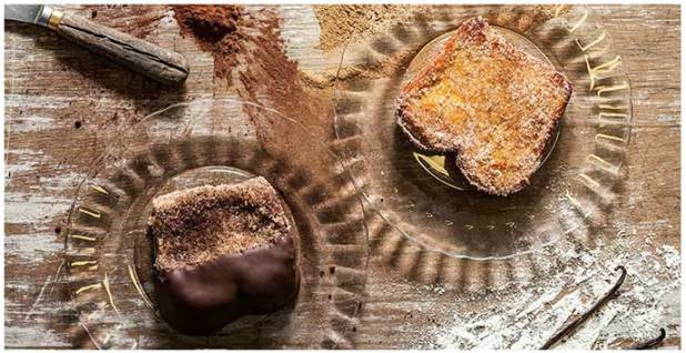 Torrija de chocolate y Torrija de vainilla bourbon Mama Framboise by Alejandro Montes