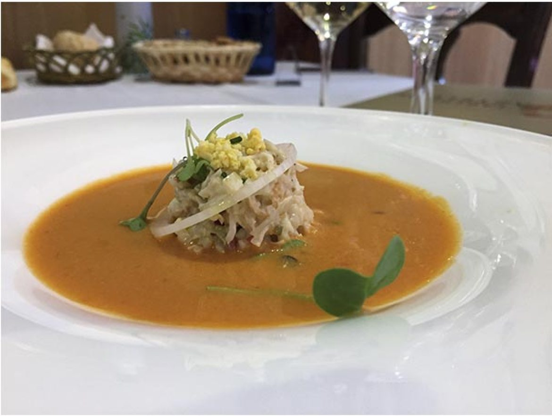 Gazpacho con centollo Restaurante Taberna Gaztelupe