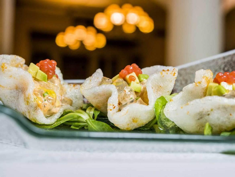 Restaurante GOIZEKO KABI Tartar de langostino marinado estilo Goizeko en su crujiente