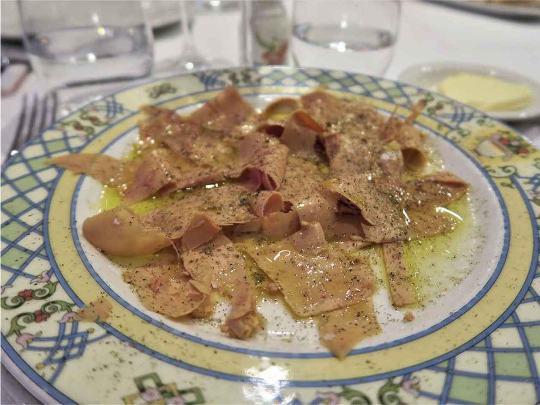 Carpaccio de foie Restaurante La Paloma Barrio de Salamanca Madrid