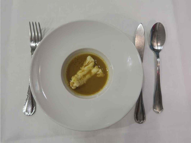 Crema de Marisco con jengibre Restaurante La Paloma Barrio de Salamanca Madrid