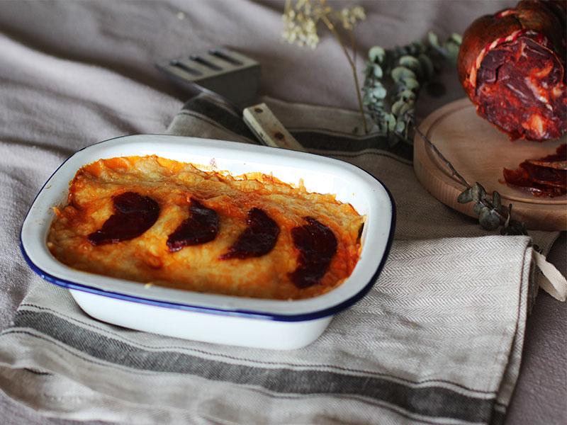 Receta de Pastel de calabacin con morcon ibérico de bellota de Señorío de Montanera