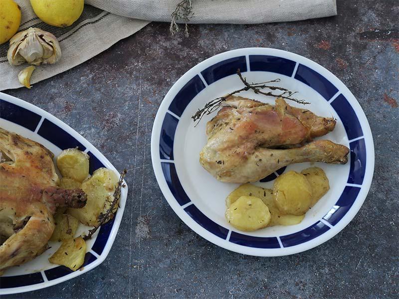 Pollo asado con patatas de Granjea
