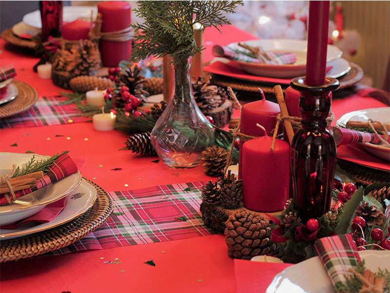 Cena de Nochebuena Mesa decorada