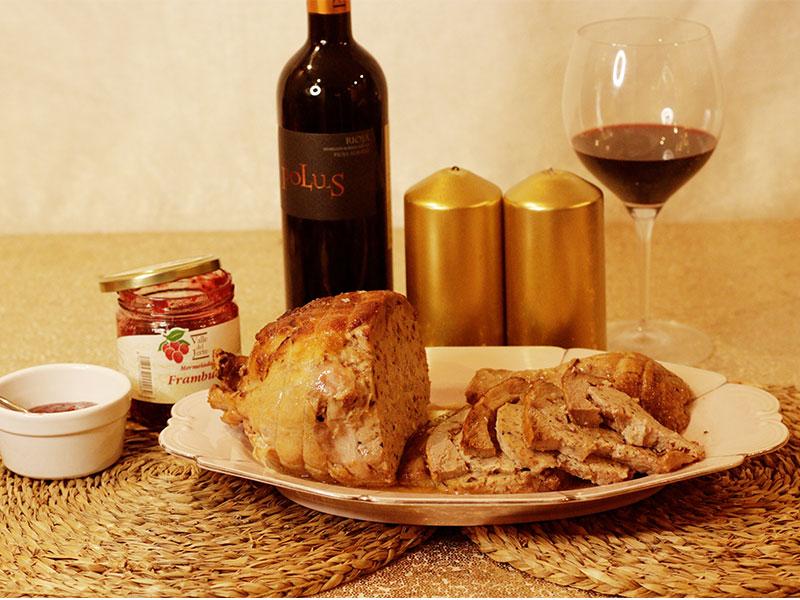 Pato relleno Malvasia Cena de Nochevieja