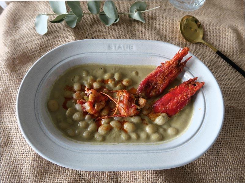 Kitchen on live Cordoba Pochas en crema de alcachofas con carabineros Restaurante Casa Pedro