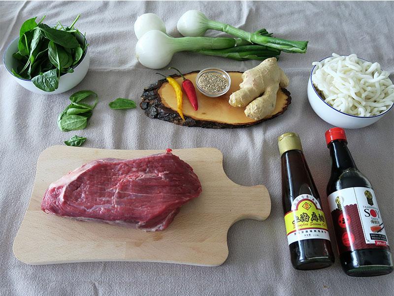 Noodles de udon con ternera ingredientes