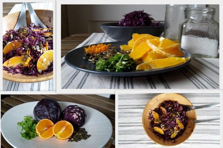 Rødkålssalat med appelsin collage