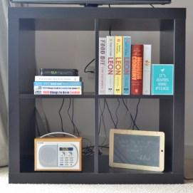 ikea shelves, blackboard, Dab digital radio, cookbooks, leon, london books, flat, apartment living, interiors