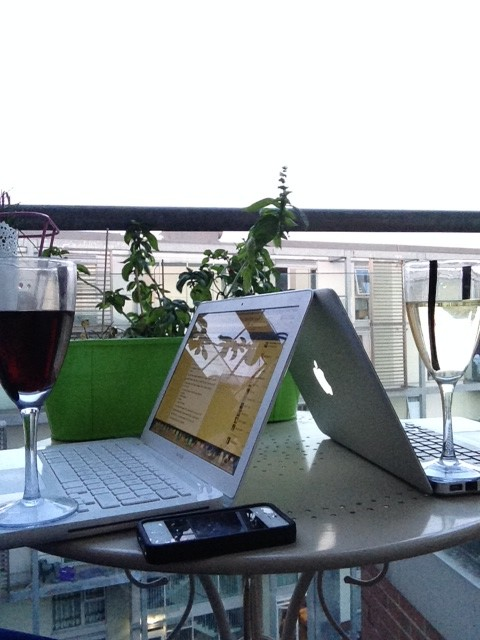 laptops and wine, wine laptop, balcony view, balcony wine,