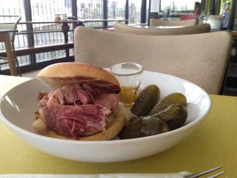 moka east salt beef bagel pickles gherkins lunch stratford olympic park london