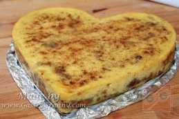 Elkészült a szívtorta alakú kenyér pudding