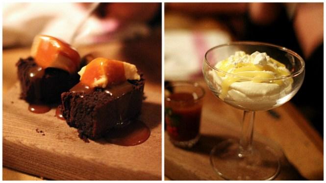 Dessert - Gedeost Creme - Karamelsauce og verdens bedste brownie...