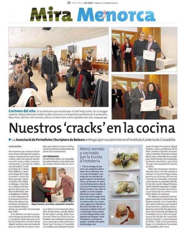 Diari Menorca premis APEG 2014