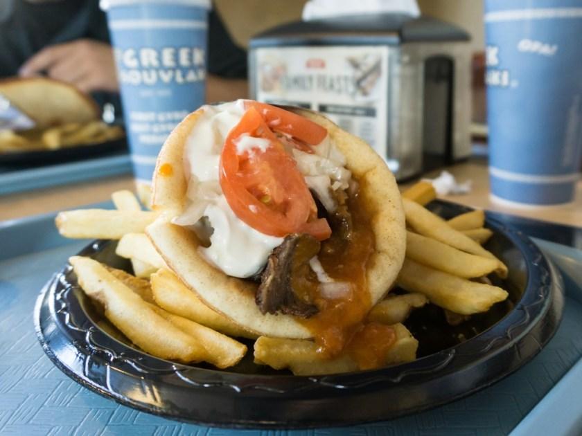 Greek Souvlaki - gyro and fries