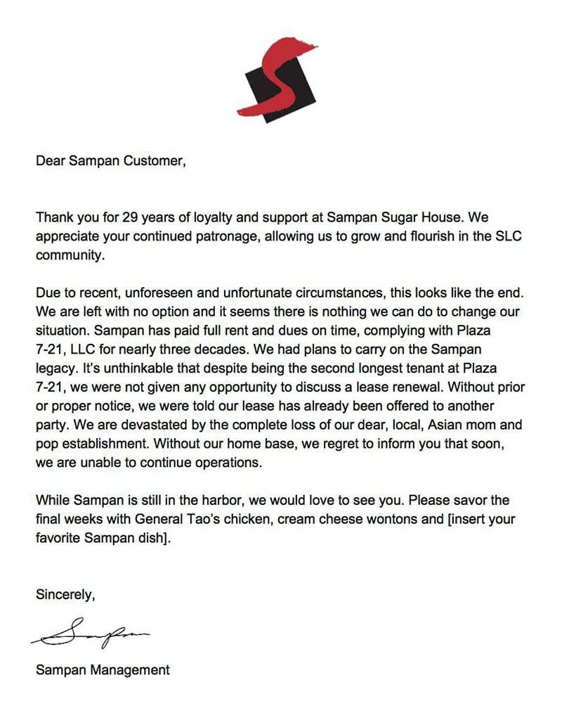 Sampan closure letter