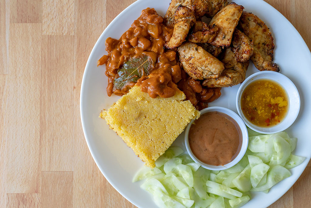 BBQ plate with home made corn bread