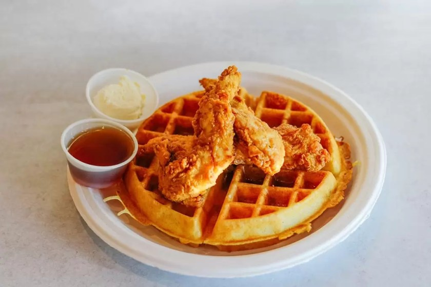 Chicken and waffles (Mr Charlies Chicken Fingers)
