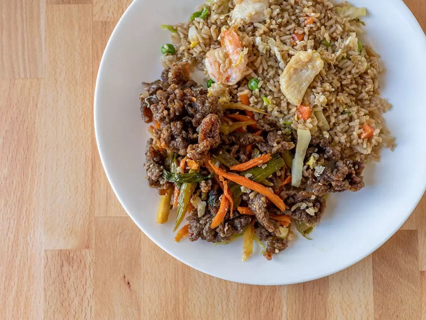 Long Life Vegi House - crispy beef and fried rice