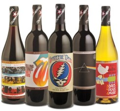 The Police Synchronicity, Rolling Stones' Forty Licks Merlot, Grateful Dead's Steal Your Face, Pink Floyd The Dark Side of the Moon Cabernet Sauvignon, Woodstock Chardonnay