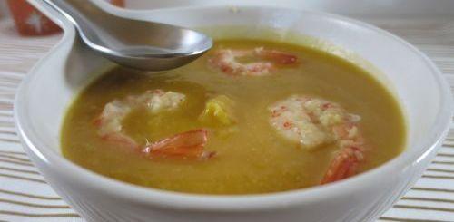Velouté de patates douces au crabe