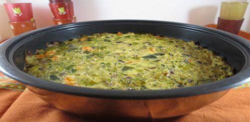 Quiche sans pâte aux crevettes et aux légumes