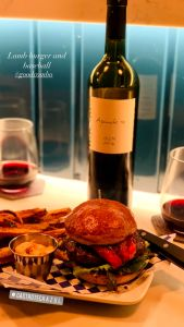 Lamb Burger and Wine