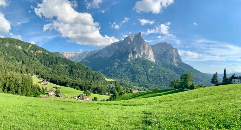 A view from our first day hiking near Castelrotto in the Dolomites