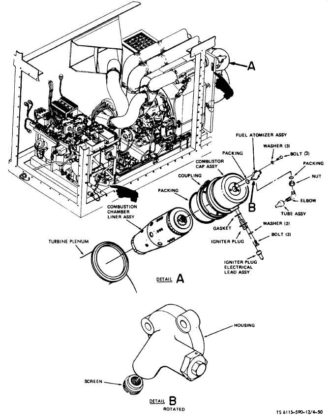 Figure 4-50. Fuel Combustion Chamber Component Replacement