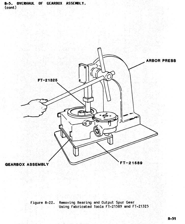 figure 8-22. removing bearing and output spur gear using