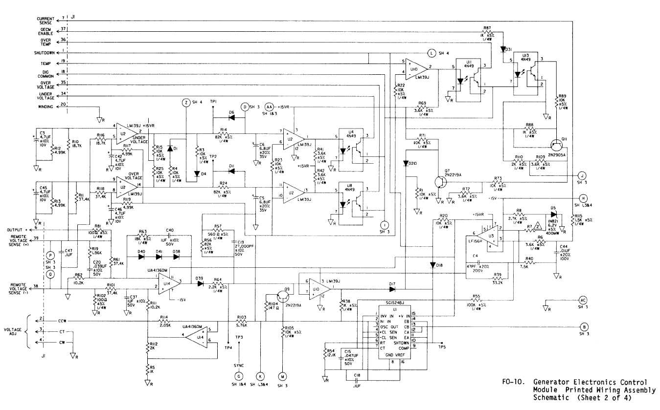 f010 generator electronics control module printed wiring assembly