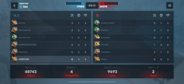 6×6体のチーム勝負で戦績が確認できる