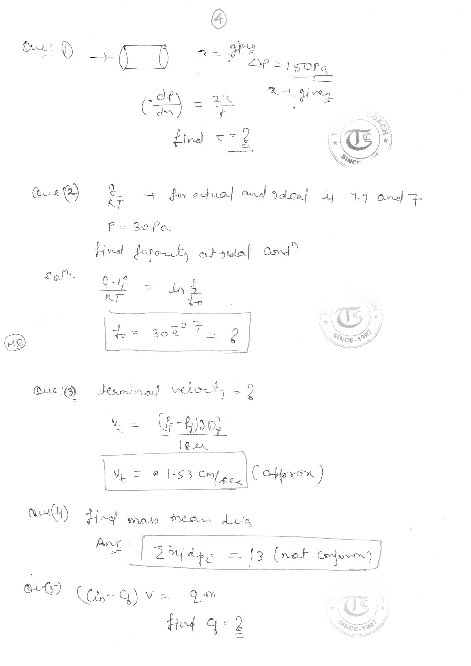 CHEMICAL ENGINEERING GATE 2017 SOLUTIONS by THE GATE COACH