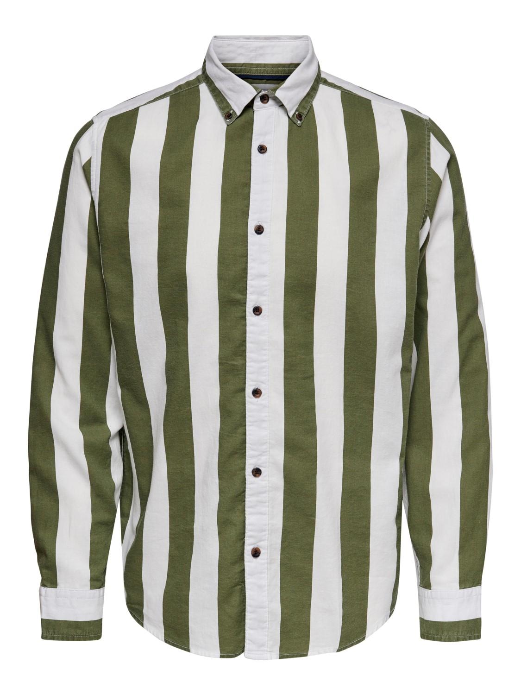 Onsarif skjorte olive stripe   Gate36 Hobro