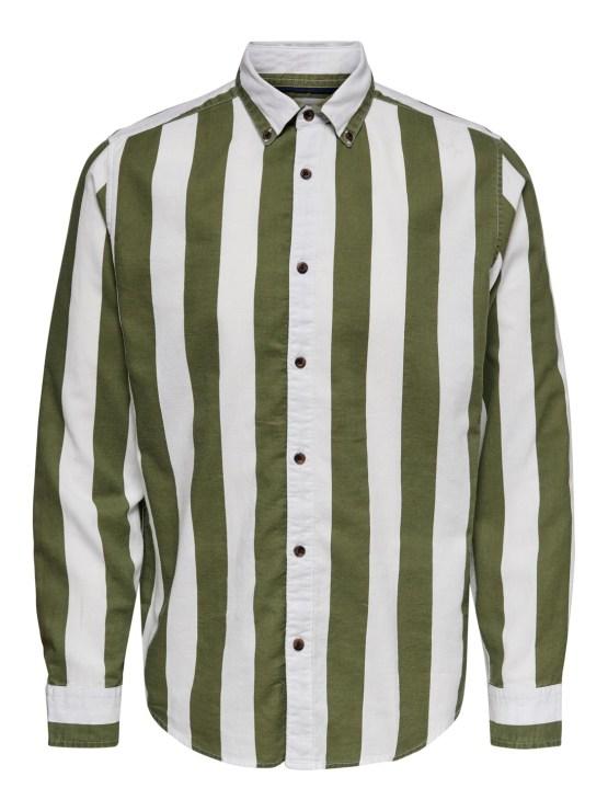 Onsarif skjorte olive stripe | Gate36 Hobro