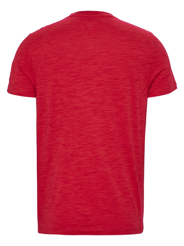 TOMMY HILFIGER - T-shirt Texture Logo Deep Crimson | GATE 36 Hobro