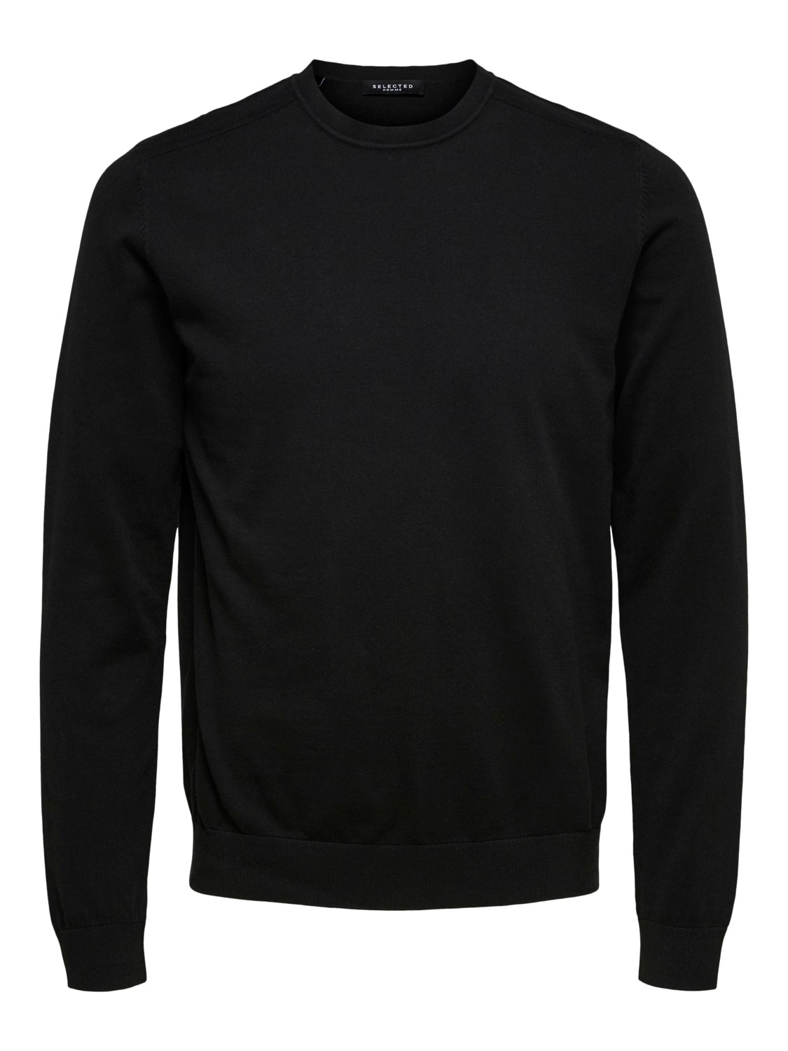 Selected - slhberg crew neck Strik Black | Gate36 Hobro