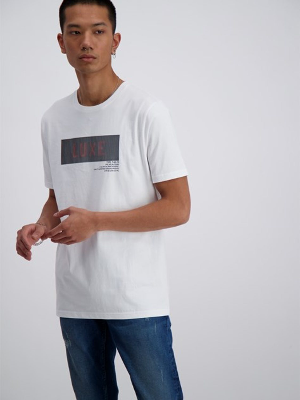 Junk De Luxe - Vilfred logo stripe print tee white   GATE 36 Hobro