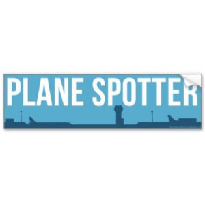 Plane Spotter Sticker (Blue) Bumper Sticker 11″ x 3″