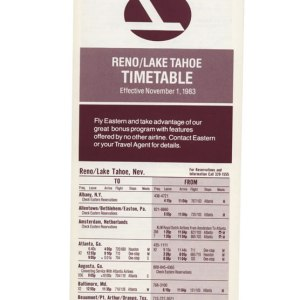 Eastern Air Lines Timetable Reno/Lake Tahoe 1983