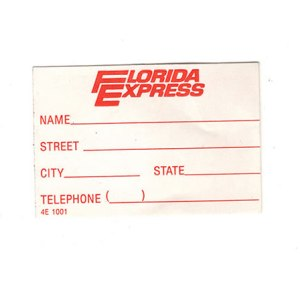 Florida Express Airlines Luggage Tag STICKER