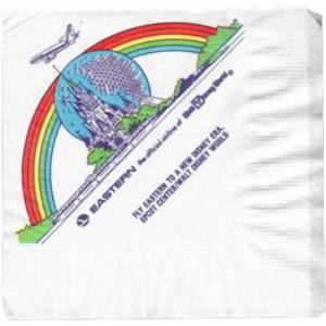Eastern Airlines Disney Epcot Paper Napkin