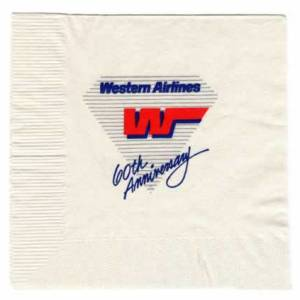Western Airlines 60th Anniversary Paper Napkin
