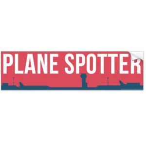 Plane Spotter Sticker (Red) Bumper Sticker 11″ x 3″