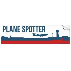 Plane Spotter Sticker (White) Bumper Sticker 11″ x 3″