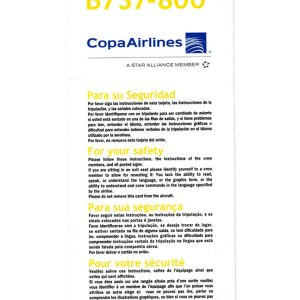 Copa Airlines 737-800 Aircraft Emergency Safety Card