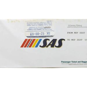 SAS Scandinavian Airlines Ticket 1984