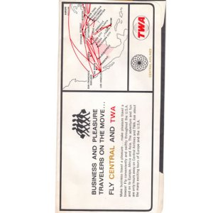 Central Airlines & TWA Boarding Ticket Envelope